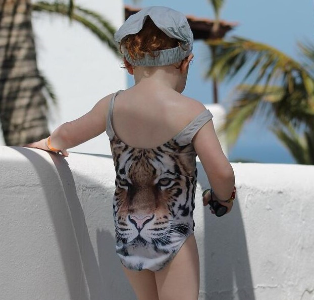 INS One-piece Swimsuit For Children 3D Tiger Printed Bikini