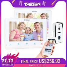 TMEZON אלחוטי/Wifi חכם IP וידאו פעמון אינטרקום מערכת, 10 אינץ + 7 אינץ מסך צג עם 1x720P Wired דלת טלפון מצלמה