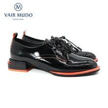 Vair mudo bombas de tornozelo feminino sapatos elegantes couro genuíno cruz-amarrado básico escritório & carreira primavera outono dedo do pé redondo rendas até d48