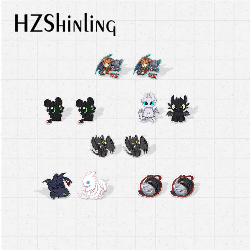 2019 Baru Kawaii Cara Melatih Anda Naga Toothless dan Lightfury Ikon Epoxy Akrilik Anting-Anting Gaya Kartun Resin Pin Anting-Anting
