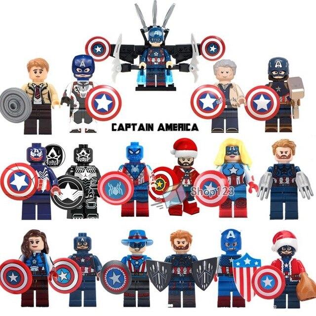 Single Captain America Steve Rogers Action Marvel Super Heroes Hydra Agent Avengers Building Blocks Model Children Toys