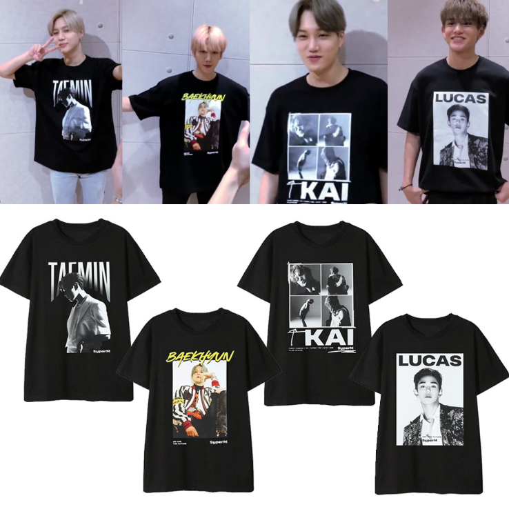 SUPER M Short-sleeved T-shirt Li Taimin Bo Xian KAI Tai Rong MARK Huang Xuxi Official Same Paragraph Clothes Men And Women