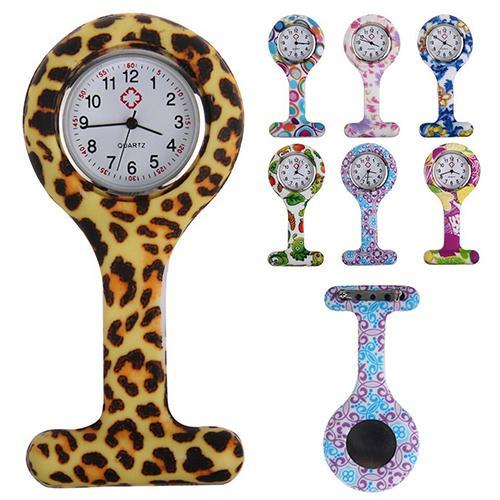 Women Nurses Pocket Watch Fashion Patterned Silicone Nurses Brooch Tunic Fob Pocket Watch Quartz Stainless Dial