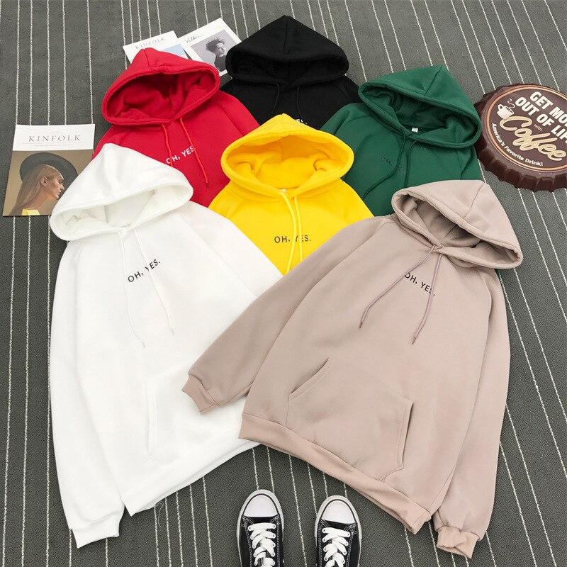 Autumn Winter Women Letter Print Pocket Long Sleeve Casual Tops  Womens Hoodies Pullover Add Wool Streetwear