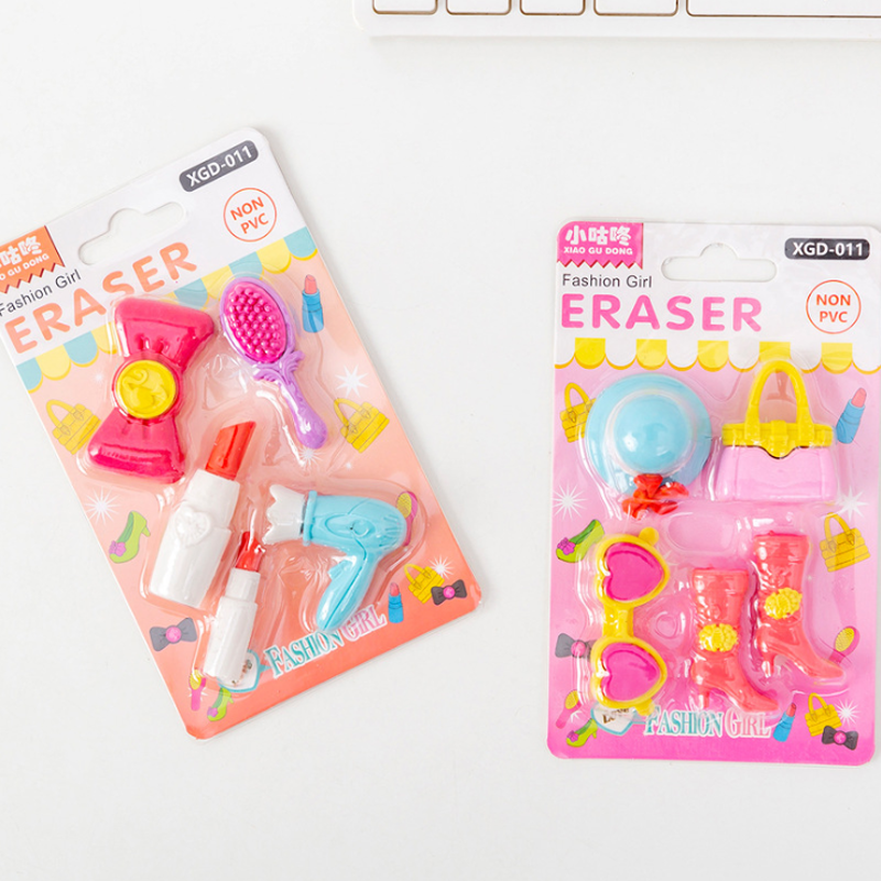 5 Pcs Lipstick High Heels Erasers Kindergarten Toy Eraser Creative Pencil Erasers Promotional Student Stationery School Supplies
