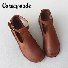 Careaymade-Retro of literature and art first-class leather shoes,all-leather pure hand-made casual womens single shoes,sandals