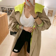 2020 Spring Autumn New Hooded Trench Coat Korean Plus Size K