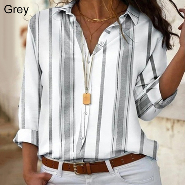 Spring Women Striped Blouse Shirt Chiffon Long Sleeve Turn Collar Female Top Chothes Casual Plus Size 5XL Loose Girls Blouses 4