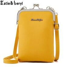 Новая цветная маленькая сумка для мобильного телефона, женская модная повседневная сумка через плечо, женская кожаная мини сумка через плечо, Дамский кошелек