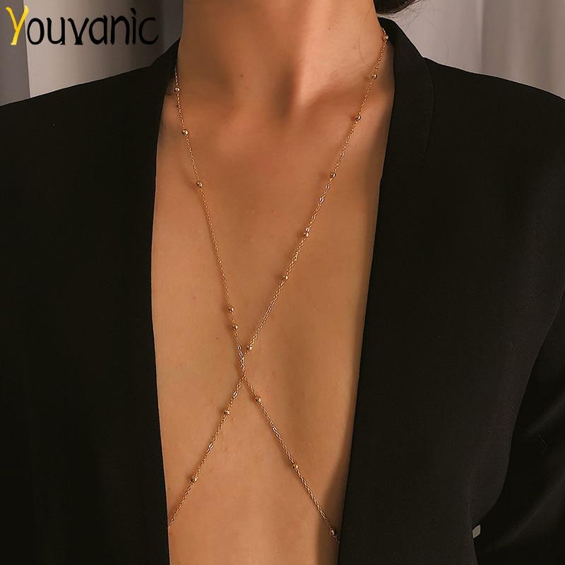Youvanic Cross Copper Beads Body Chains Bikini Belly Bra Chain Harness Necklace Boho Beach Body Jewelry 0459