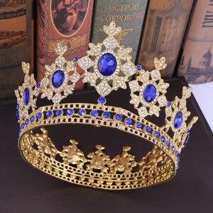 Nouveau luxe mariée mariage couronne reine royale grand Circlec couronnes et diadèmes bijoux de cheveux cristal diadème tête de bal bijoux
