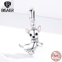 Dog Charms BISAER 925 Sterling Silver Chihuahua Beads Dog Doggy Animal Silver Charms fit for Women Bracelets Silver 925 Jewelry