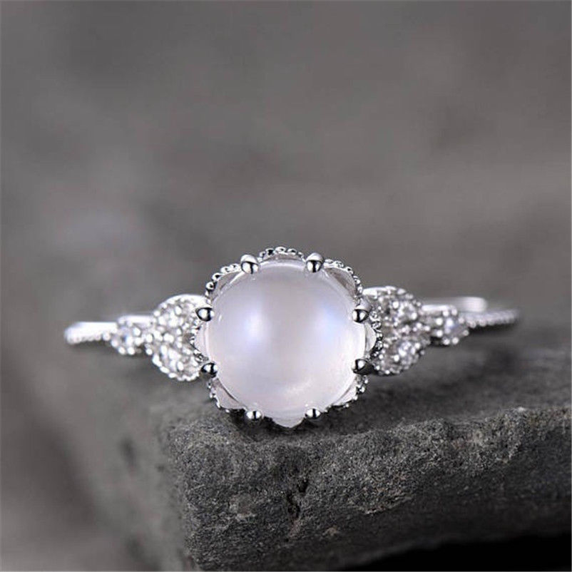 Hot selling pink moonstone diamond sweet ring, Europe and American plated 18k rose gold or silver white engagement wedding ring