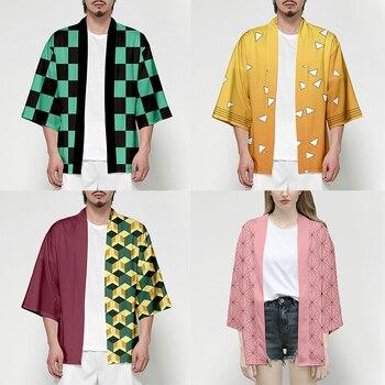 Disfraz de Anime Demon Slayer Kimetsu No Yaiba Tanjiro Kamado para hombre, Kimono de talla grande, chaquetas, fiesta de Halloween