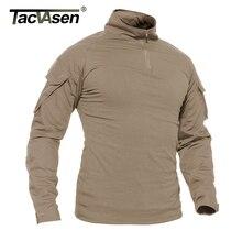 TACVASEN גברים קיץ חולצות הסוואה צבא Combat טקטי T חולצה צבאי גברים של ארוך שרוול חולצה ציד פיינטבול בגדים