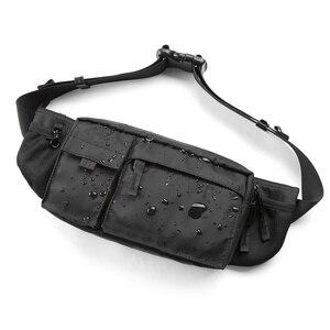 Image 1 - MOYYI su geçirmez Crossbody çanta erkekler rahat omuz çantaları spor kemer göğüs çantası fermuar çok katmanlı sırt çantaları bel paketi