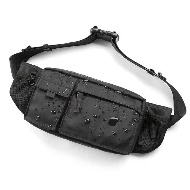 MOYYI su geçirmez Crossbody çanta erkekler rahat omuz çantaları spor kemer göğüs çantası fermuar çok katmanlı sırt çantaları bel paketi