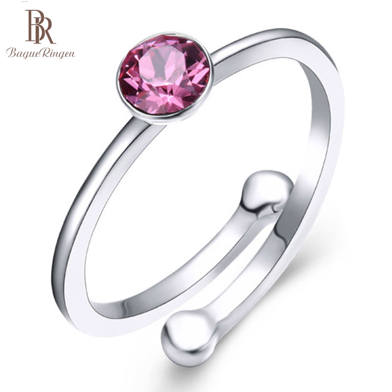 Bague Ringen 925 Silver Jewelry Rings For Women Simple Style Opening Adjustable Created  Quartz Ring Brithday Wedding Gift