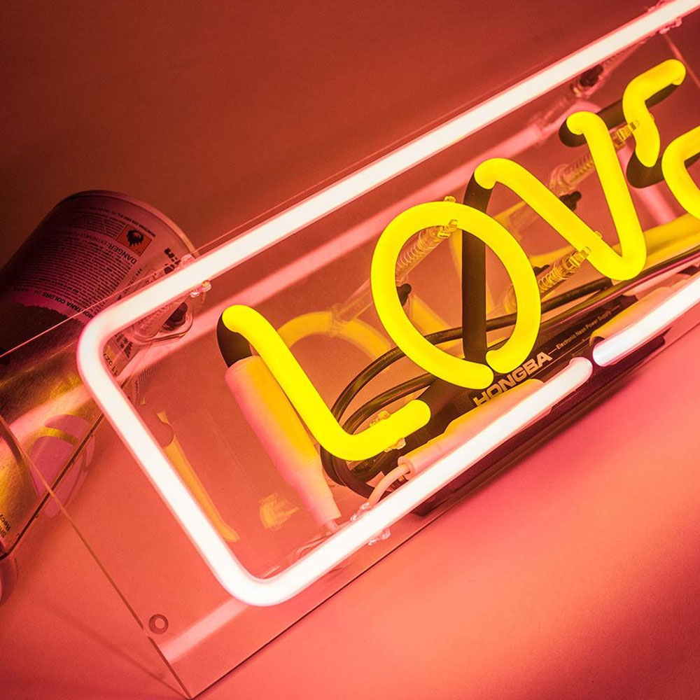Waterproof Galss Neon Signs Luminous Love Neon Signs With Clear Acrylic Box Custmization Neon Tube Lights For Rooms Shops
