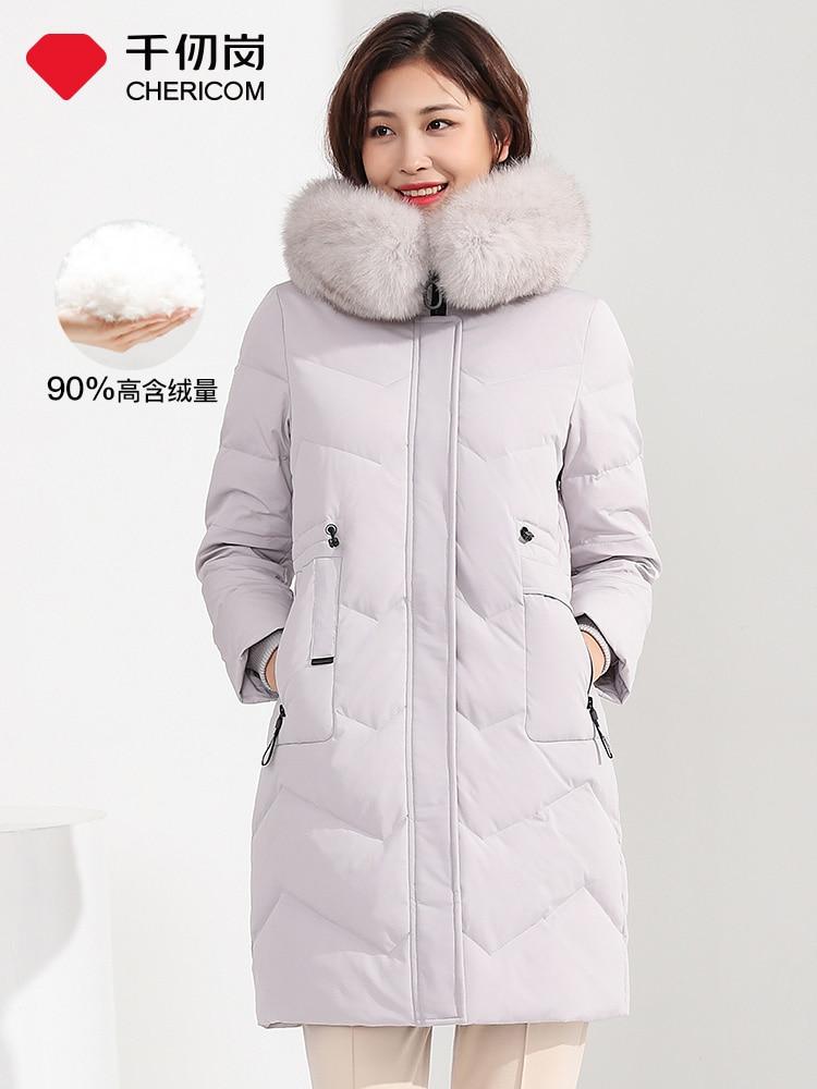 CHERICOM automne et hiver nouvelle doudoune femme mi-longue grande fourrure col couleur unie simple loisirs doudoune