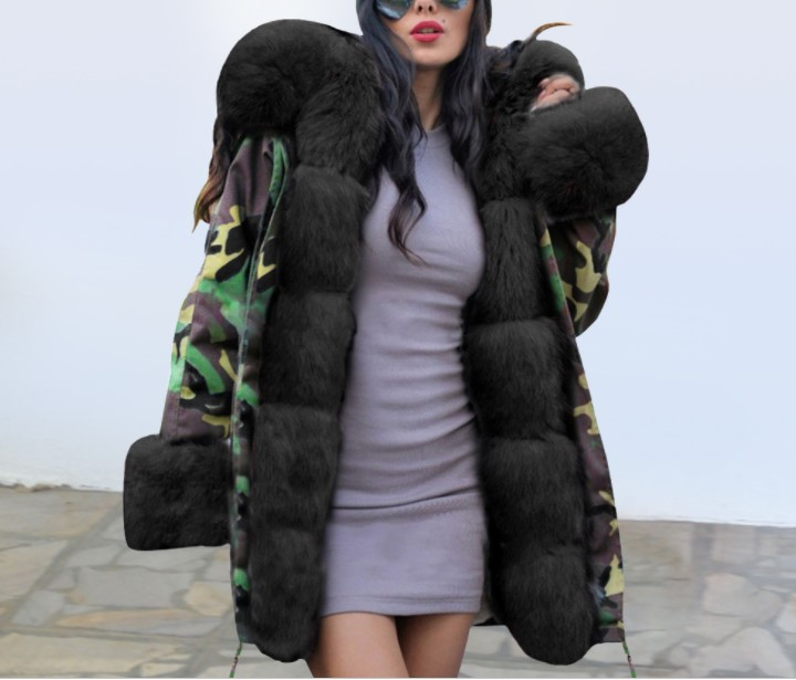 2019 winter women Cotton clothes long camouflage hooded large fur collar warm  cotton coat