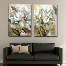 2 Panel hand painted Wall Art canvas painting quadro handmade Gold flower Decorative picture Gold Flower oil Painting home decor стоимость