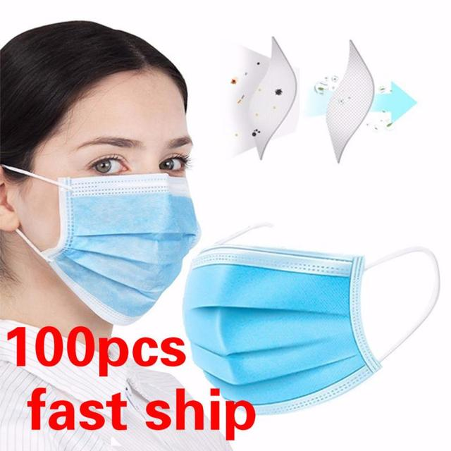 100Pcs Quality Disposable Mask 3 Layer PM2.5 Nonwoven Soft Breathable Anti Pollution Flu Hygiene Masks Features FFP3 KF94 N95