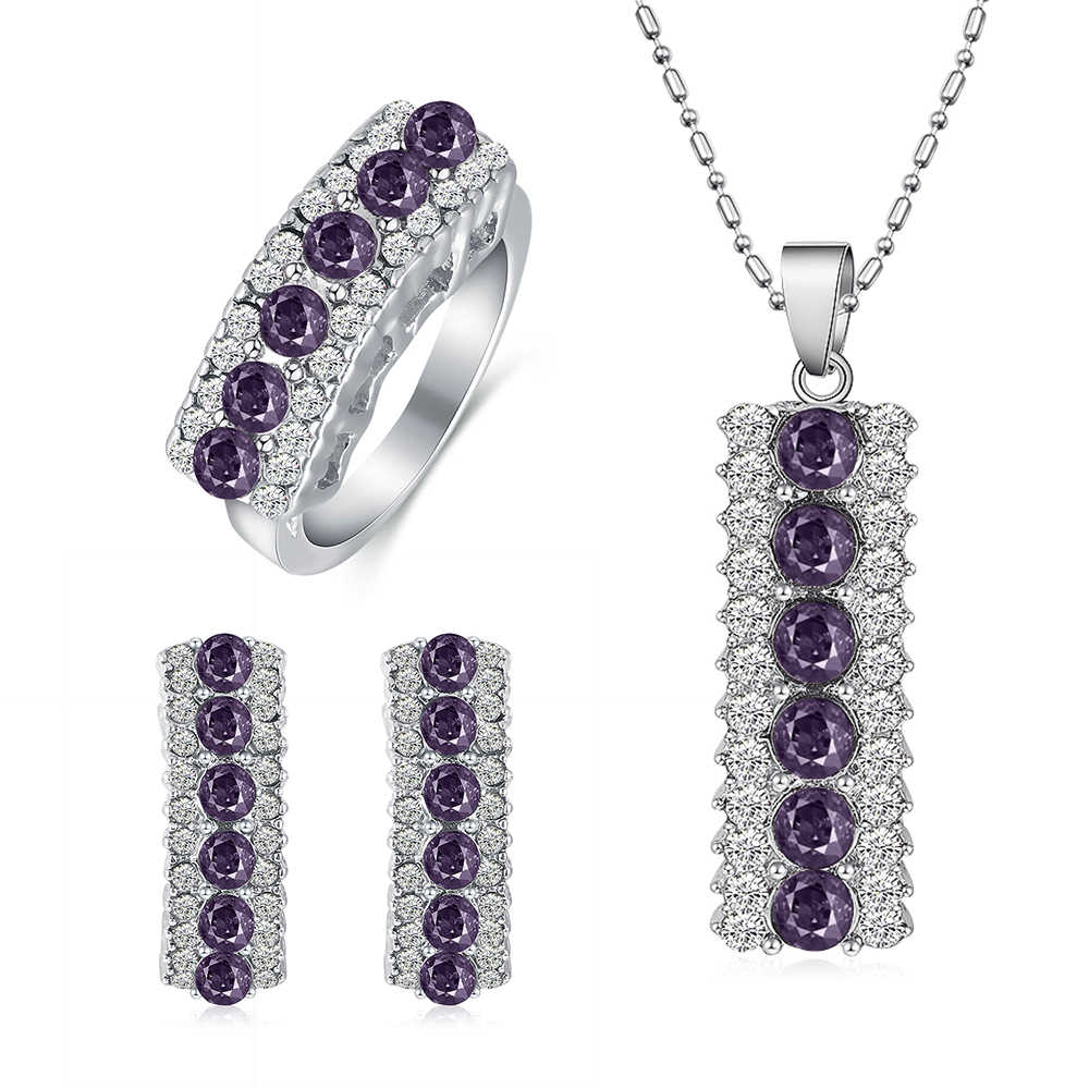 Elegan Austria Crystal Perhiasan Set Wanita Fashion Geometris Liontin Kalung Perak Anting-Anting Cincin Wanita Pernikahan Perhiasan Set