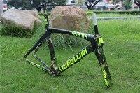 Mais novo camuflagem cor 700C Road bike T1000 mate UD 1K fibra de carbono completo bicicleta garfo quadro + canote + braçadeira + fones de ouvido navio Livre