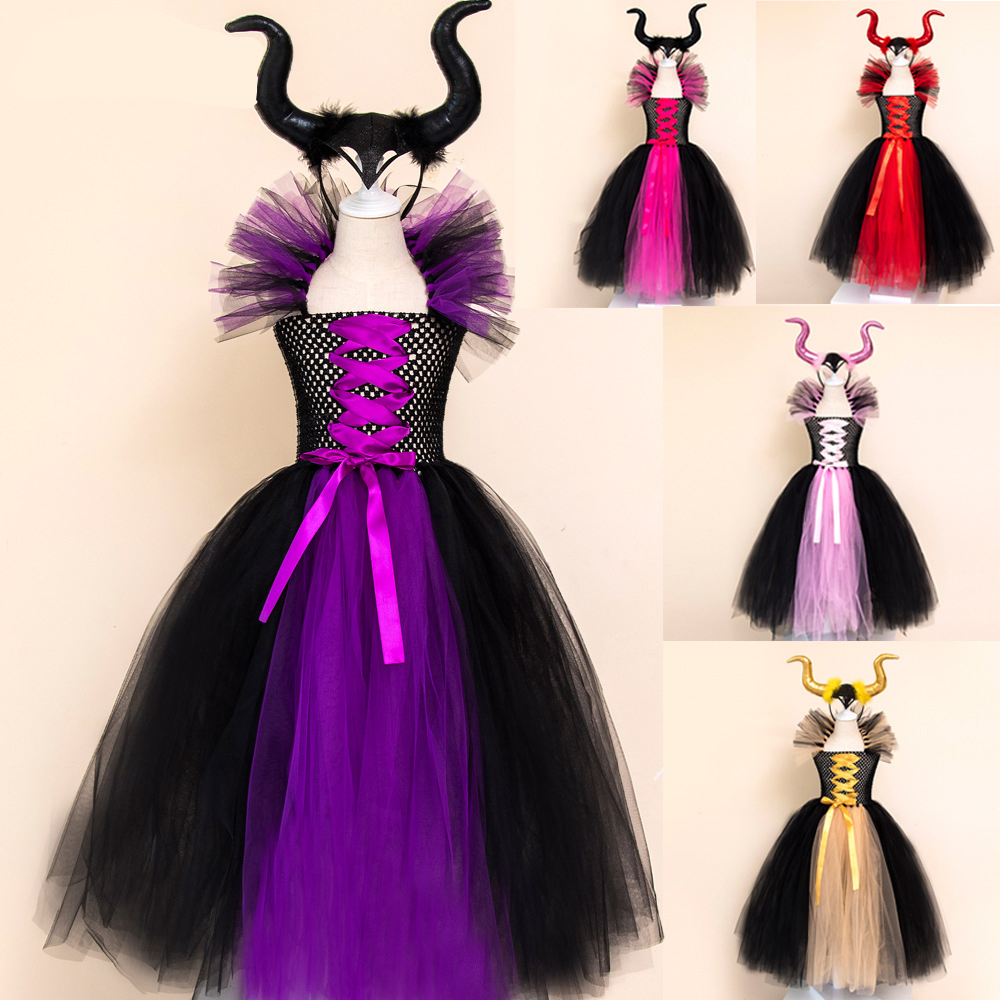 Maleficent Of Evil Queen Tutu Skirt For Girls Dresses With Horns Halloween Witch Costume Cosplay Girls Children's Carnival Party