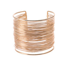 New Arrival Fashion Curve Gold Color Wide Opened Cuff Bracelets & Bangles Ladies Jewelry(China)