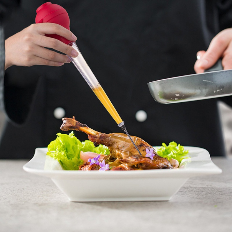 Силиконовая индейка Капельное масло приправа трубка Инструменты для барбекю с чистящей щетка для шашлычницы инструмент кухонный инструмент cmma