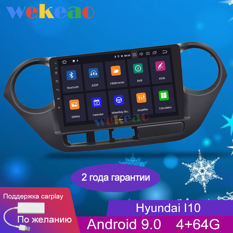 Wekeao Touch Screen 9'' 1 Din Android 9.0 Car Dvd Multimedia Player For <font><b>Hyundai</b></font> <font><b>I10</b></font> <font><b>Grand</b></font> Car Radio <font><b>GPS</b></font> Navigation 2013-2016 image