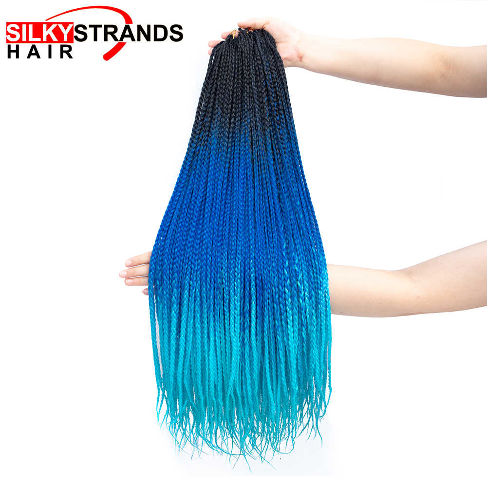 19 Color Ombre Box Crochet Hair Braids 24 Inch Zizi Synthetic Hair Extension For Braids Kanekalon Braiding Hair Pre Stretched
