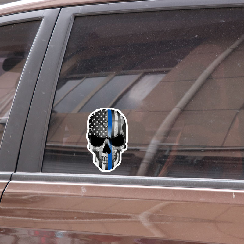 Thin Blue Line Decal REFLECTIVE Wolf Head USA flag Car Sticker Laptop Cool