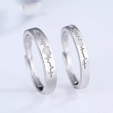 Genuine S925 sterling silver creative jewelry couple ECG opening adjustable ring fashion men and women ring s925 sterling silver classical minimalist ring jewelry men women fashion couple ring