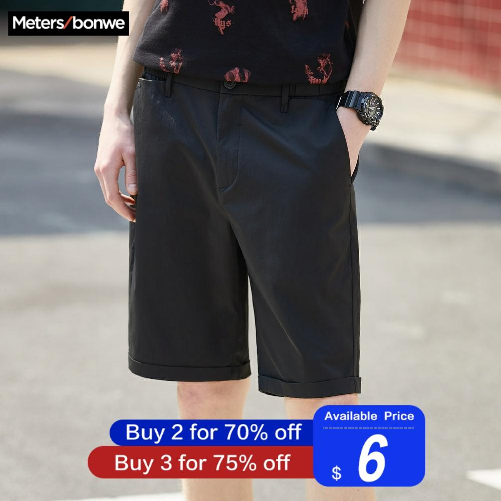 Metersbonwe Men's Summer Casual Short Pants Fashion Business Style Streetwear Shorts Solid Color Breathable Plus Size
