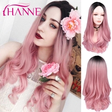 HANNE Ombre różowe peruki syntetyczne dla kobiet długie faliste peruki różowe środkowe peruki naturalne Cosplay włosy kobiece peruki imprezowe
