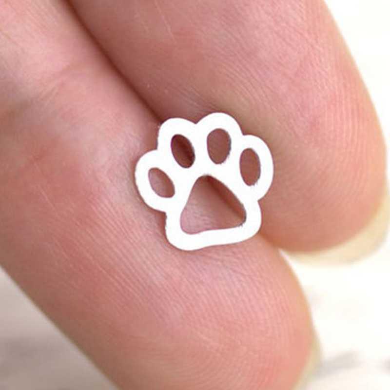 かわいい犬足跡イヤリング女性のための中空犬足スタッドピアス部分ギフトファッションチワワシベリアンハスキーイヤリングジュエリー