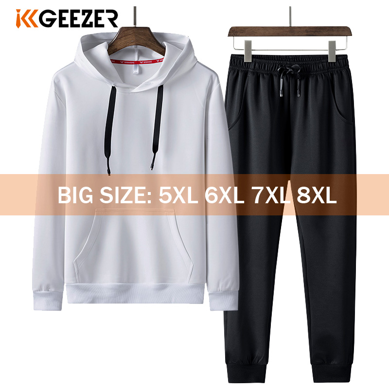 Men Hoodie 5XL 6XL 7XL 8XL Overalls Tracksuit Set Sweatshirts 2020 Pants Casual Hoodies Pullovers Street Black Hoody Streetwear