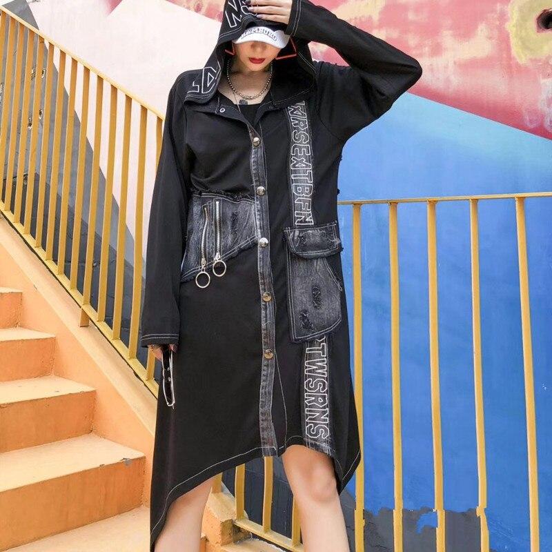 Punk Vintage Korean Ladies Autumn Coats Womens Hooded Denim   Trench   Coat Long Windbreaker Female Clothes Plus Size SA408S30