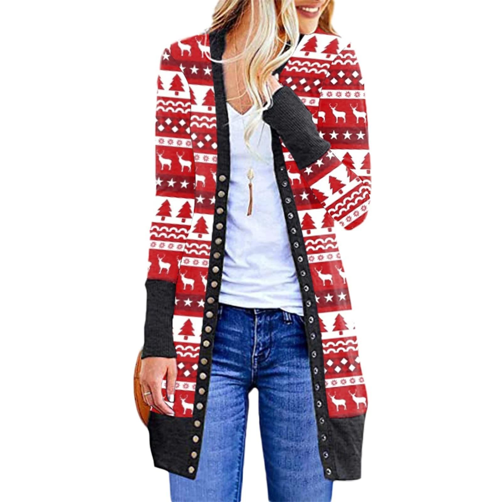 Women's Christmas Cardigan Fashionable Snowman Deer Printing ...