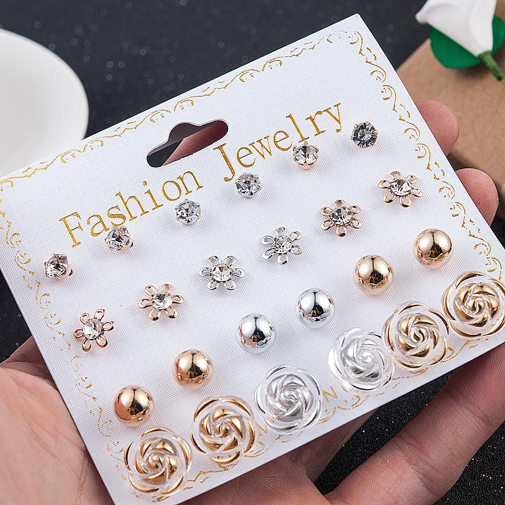Elegant 12 Pairs/Set Women's Pearl Flower Crystal Mix Design Studs Earrings Girls Elegant Gold Heart Ear Jewelry Gift Aretes De(China)
