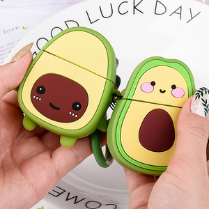 Image 1 - Earphone Case For Airpods 2 Case Silicone Cute Avocado Fruit Strawberry Cover For Apple Air pods 2 Accessories Earbud Case