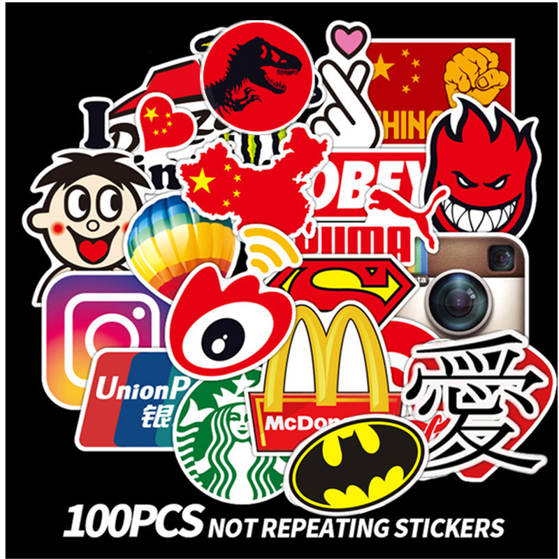 100Pcs Tide Logo Fashion Brand Graffiti Stickers Guitar Laptop Macbook Water Cup Luggage Fridge Skateboard Bicycle Decal Sticker