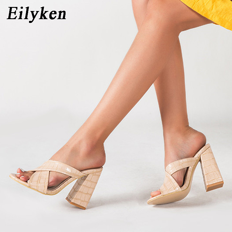 Eilyken Summer Snake Print Peep Toe Thick High Heels Slippers Fashion Hollow Cross Strap Gladiator Sandals Women Dress Shoes