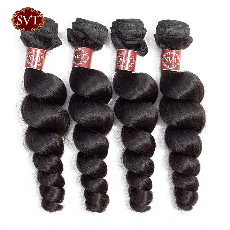 "SVT Hair 8-26"" Middle Ratio Loose Wave Bundles Can Buy 3/4 Bundles Malaysian Hair Weave Bundles Non-Remy Human Hair Bundles"