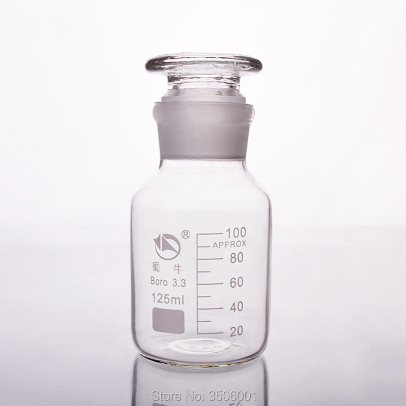 Reagent Bottle,Wide Mouth,Clear,Boro. 3.3 Glass,Capacity 125ml,Sample Vials