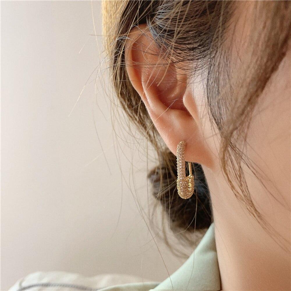 Punk Gold Rhinestone Safety Pin Stud Earrings Crystal Paper Clip Geometric Earrings for Women