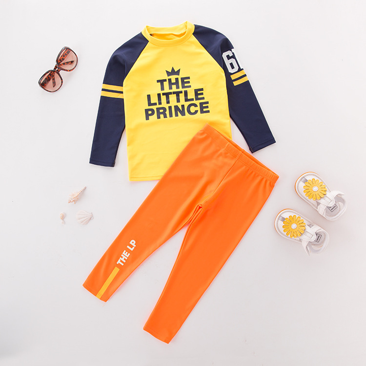 Children Two-piece Swimsuits Long Sleeve Yellow Crown Orange Pants-KID'S Swimwear Hot Springs Clothing